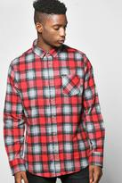 Boohoo Long Sleeve Heavy Brush Check Shirt