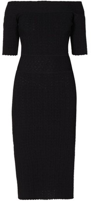Altuzarra Stansfield Off-the-shoulder Knitted Midi Dress - Womens - Black
