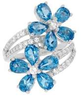 Lord & Taylor Swiss Blue Topaz, White Topaz and Sterling Silver Floral Ring