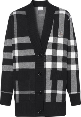 Burberry Deer-Appliquee Checked Cardigan