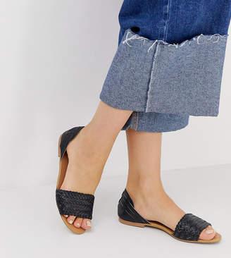 Park Lane wide fit leather interlaced summer sandals-Black