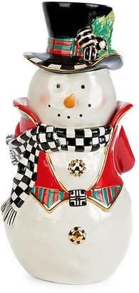 Mackenzie Childs Top Hat Snowman Cookie Jar