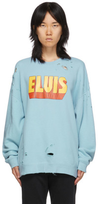 R 13 Blue Elvis Logo Oversized Sweatshirt