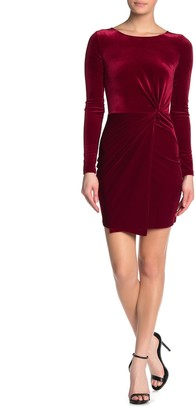 Love...Ady Asymmetrical Velvet Long Sleeve Mini Dress