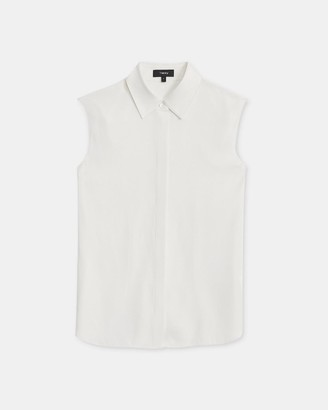 Theory Fitted Sleeveless Shirt in Stretch Silk