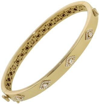 Sydney Evan Diamond Evil Eye Hinged Bangle Bracelet - Yellow Gold