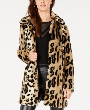Kensie Leopard-Print Faux-Fur Coat