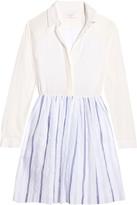 Sandro Retox crepe-paneled striped cotton mini dress