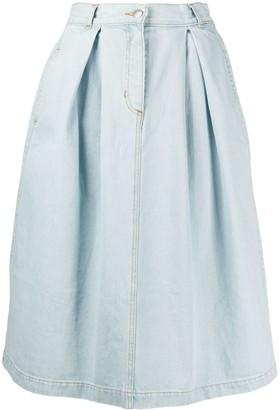 Societe Anonyme light wash pleated denim skirt