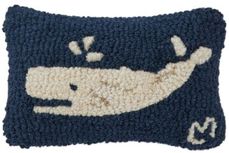 L.L. Bean Wool Hooked Throw Pillow, Spouting Whale