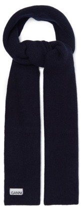 Ganni Ribbed Wool-blend Scarf - Womens - Navy