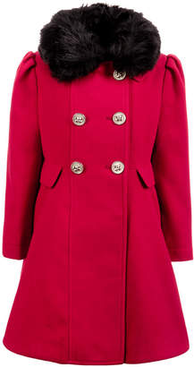 S. Rothschild Toddler Girls Double-Breasted Swing Coat With Removable Faux-Fur Collar