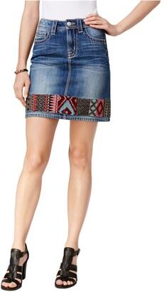 Miss Me Women's Embroidered Denim Skirt
