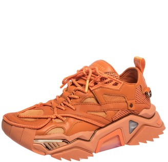 Calvin Klein Orange Leather, Rubber And Mesh Strike 205 Low-Top Sneakers Size 41