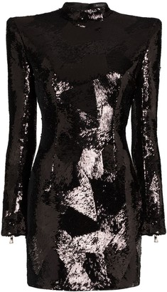 Balmain Padded-Shoulder Sequin Mini-Dress