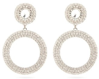 Alessandra Rich Crystal Circular-drop Clip Earrings - Crystal