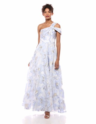 Carmen Marc Valvo Women's Asymetrical one Shoulder Organza Ballgown