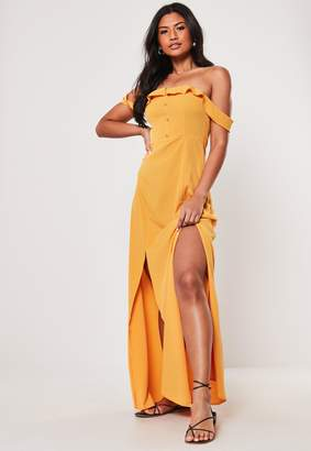 Missguided Mustard Bardot Button Front Maxi Dress