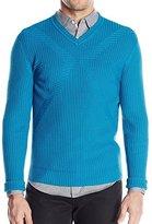 Calvin Klein Men's Cotton Modal Novelty Rib V Neck Sweater