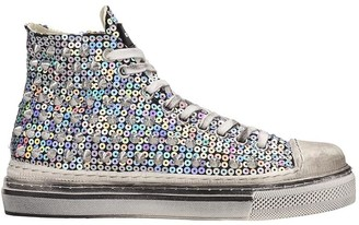 Gienchi J.m.high Sneakers In Silver Tech/synthetic