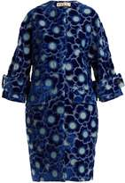 Marni Coral-jacquard high-neck velvet coat