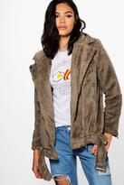 Boohoo Freya Teddy Fur Oversized Biker Jacket