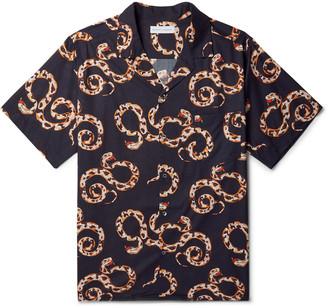 Desmond & Dempsey Camp-Collar Printed Organic Cotton Pyjama Shirt