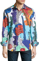 Robert Graham Wildflowers Woven Button-Front Shirt, Multi