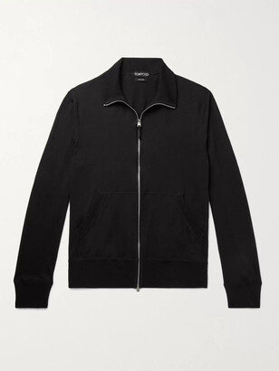 Tom Ford Cotton, Silk And Cashmere-Blend Jersey Zip-Up Sweater