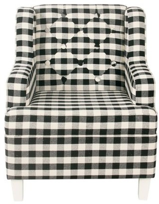 HomePop Kid's Tufted Wingback Chair - Mini Black Plaid