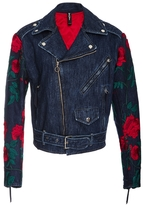 ADAM SELMAN Embroidered Denim Moto Jacket