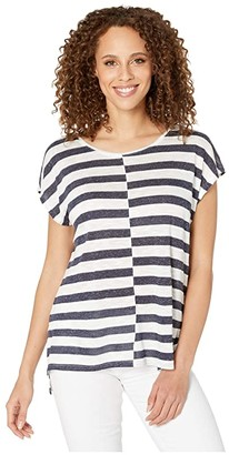 Vince Camuto Extend Shoulder Even Patchwork Stripe Tee (Indigo Night Heather) Women's Clothing