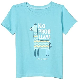 Life is Good No Prob Llama Crusher Tee (Toddler) (Coastal Blue) Kid's Clothing