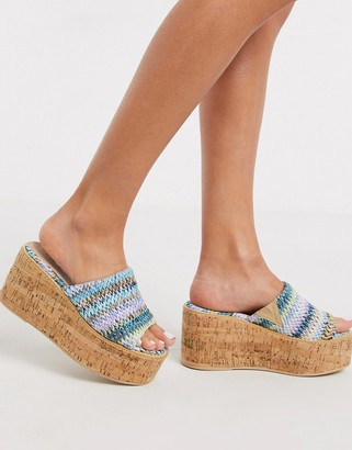 ASOS DESIGN Toya cork wedges in multi weave