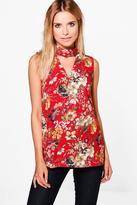 Boohoo Saffron Floral Choker Neck Sleeveless Tunic
