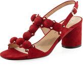 Neiman Marcus Lannie Stud Pompom Sandal, Red