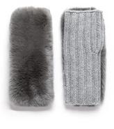Yves Salomon Rabbit fur and cashmere-wool knit fingerless gloves