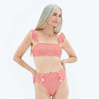 Summersalt The Ruffle High Leg High Rise Bikini Bottom - On The Dot in Coral