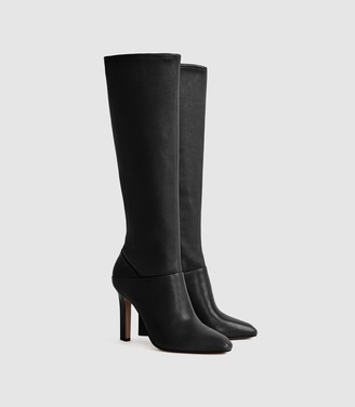 Reiss Cressida - Leather Knee High Boots in Black