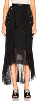 Rodarte Pearl & Pleather Flower Skirt in Black.