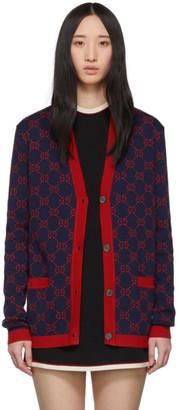 Gucci Navy GG Jacquard Cardigan