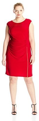 Tiana B Women's Plus-Size Cap Sleeve Dress with Exposed Zipper Trim