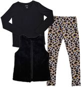 Girls 7-16 & Plus Size French Toast Faux-Fur Vest, Tee & Animal Printed Leggings Set