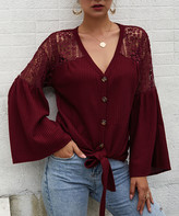 Gaovot Women's Blouses wine - Wine Red Lace-Shoulder Waffle-Knit Button-Up Top - Women