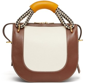 Marni Rope-handle Medium Leather And Canvas Bag - Womens - Brown Multi