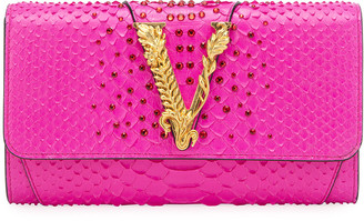 Versace Virtus Python Crossbody Clutch Bag