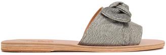 Ancient Greek Sandals Taygete Bow-embellished Lame Slides
