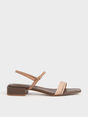 Charles & Keith Open Square Toe Heeled Sandals