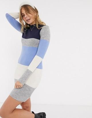 Brave Soul marlow high neck colourblock stripe jumper dress