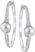 Swarovski Silver-Tone Imitation Pearl and Pavé Hoop Earrings